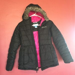 Girls Columbia Winter Jacket Black with Pink